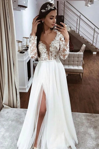 V Neck Appliques Tulle Beading Long Sleeve A Line Wedding Dress