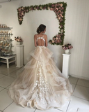 Champagne Tulle Spaghetti Straps Backless Appliques Wedding Dress