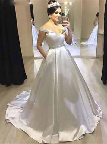 Ball Gown Satin Off the Shoulder White Wedding Dress With Pocket