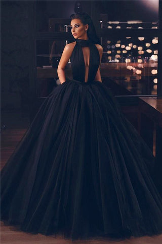 Sleeveless Ball Gown High-Neck Black Tulle Evening Dress With Pockets