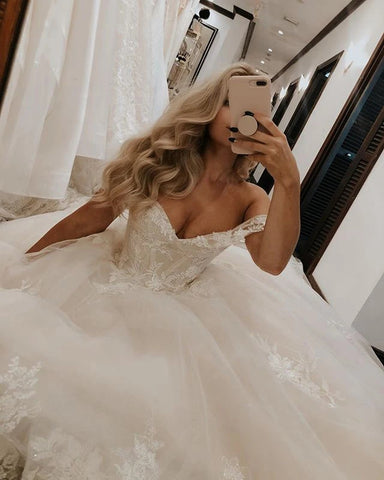 Tulle Appliques Ball Gown Beautiful Off The Shoulder Wedding Dress