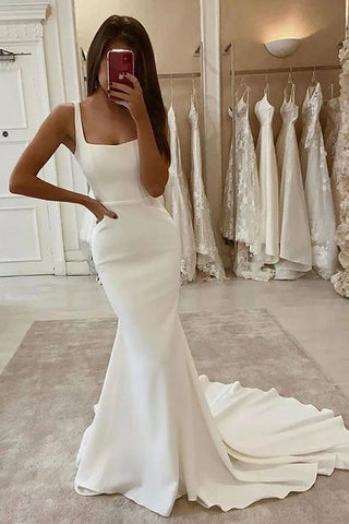 Sweep Train Satin Straps Trumpet Mermaid Wedding Dress
