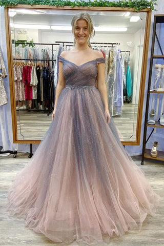 Off The Shoulder Tulle Beading A-Line Ombre Long Prom Dress