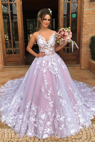 Floral V Neck See Through Bodice Spaghetti Straps Prom Dress