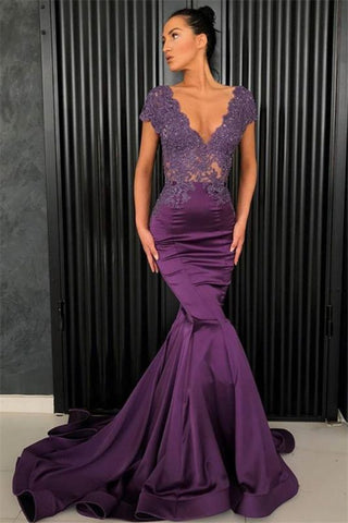 Short Sleeves Grape Mermaid Beads Long V-Neck Formal Prom Dress