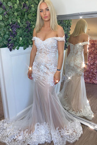 Champagne White Lace Appliques Princess Off Shoulder Mermaid  Long Prom Dress