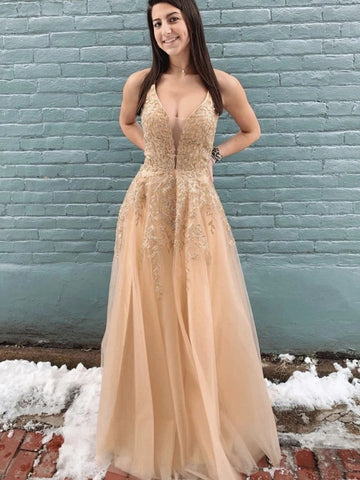 Champagne Appliques Spaghetti Straps Mesh Tulle Long Prom Dress