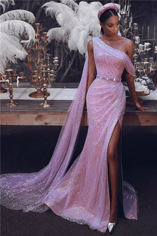 Slit Pink Sequins Sparkly One Shoulder Evening Dress With Slit