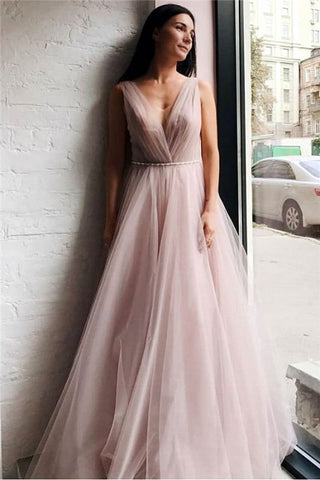 Long Beading Pink Tulle V-Neck Beading Pleats Prom Dress