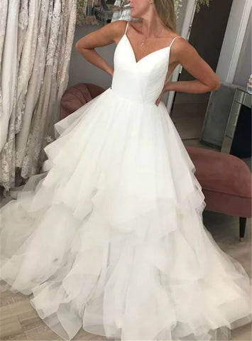 Tulle Spagehtti Straps Backless Ruffles White Wedding Dress