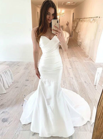 White Mermaid Sweetheart Pleats Satin Long Wedding Dress