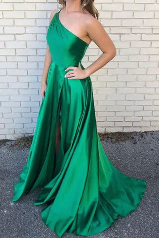 One Shoulder Green Satin Beading A-Line Long Prom Dress With Slit