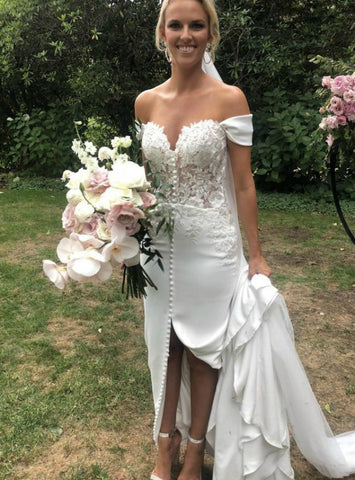 Appliques Sexy White Mermaid Satin Off the Shoulder Wedding Dress