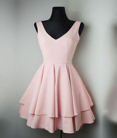 Satin V Neck Pink Short Prom Dress