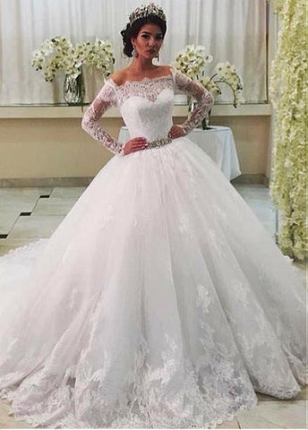 Belt Tulle Off-the-shoulder Long Sleeve Ball Gown Wedding Dress