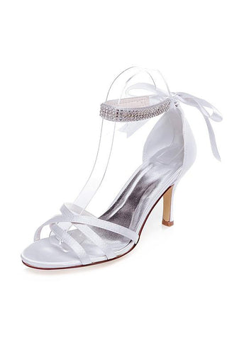 Fashionable Satin Upper Open Toe Stiletto Heels Wedding Shoes With Beads