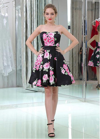 Floral Cloth Strapless Neckline Short Length A-line Cocktail Dresses With Belt