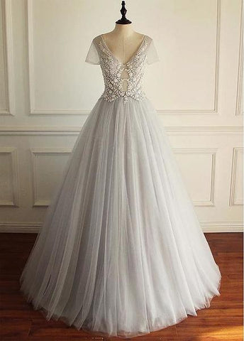 Beaded Lace Appliques Tulle V-neck Gray A-line Wedding Dress