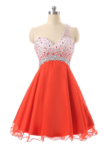 Energetic Chiffon One-shoulder Neckline A-Line Short Homecoming Dresses With Beads & Rhinestones