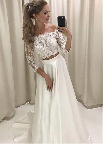Satin Off-the-shoulder Appliques Two-piece A-line Wedding Dress