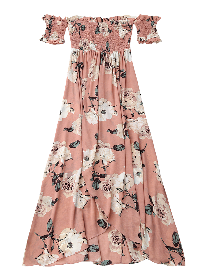 1a59808dc88 Pink Off Shoulder Shirred Slit Floral Maxi Dress Cheap Free Shipping ...