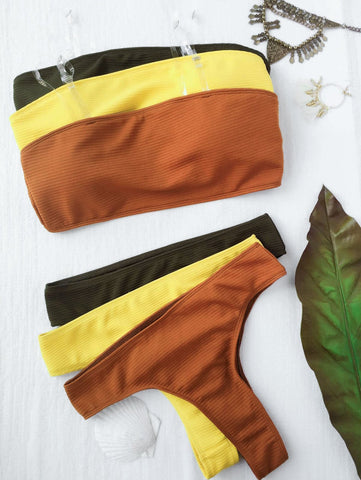 Sample High Leg Bandeau Bikini Set