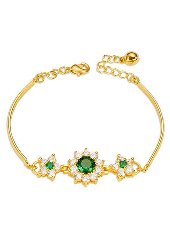 18K Gold Plated Bracelet Flowers with Emerald