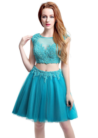 Wonderful Tulle Bateau Neckline Short-length Two-piece A-Line Homecoming Dresses With Hot Fix Rhinestone