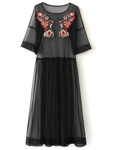 Black See Thru Tulle Embroidered Maxi Dress