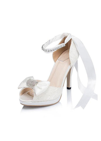 Chic Lace Upper Open Toe Stiletto Heels Wedding/ Bridal Party Shoes With Bow & Rhinestones