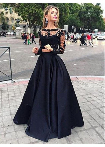 Black Two Pieces A-Line Prom Dress With Lace Appliques