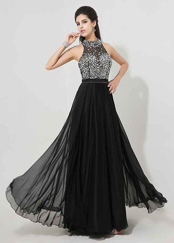 Sparkling Chiffon High Collar Neckline A-line Prom Dresses With Beadings & Rhinestones