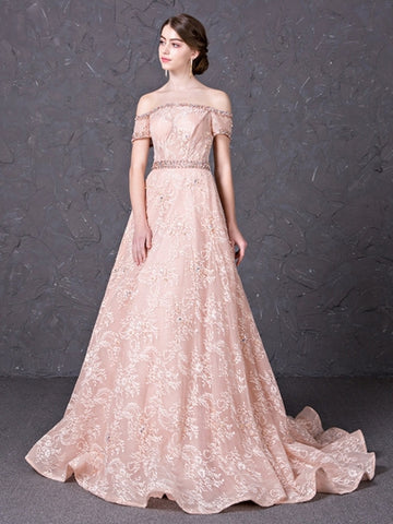 A-Line Off-the-Shoulder Lace Beading Court Train Evening Dress
