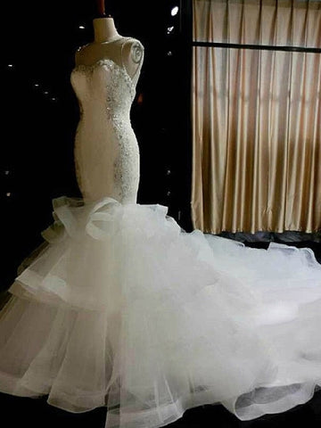 Slim Mermaid Tiered Tulle Bateau Crystal Beading Cathedral Wedding Dress