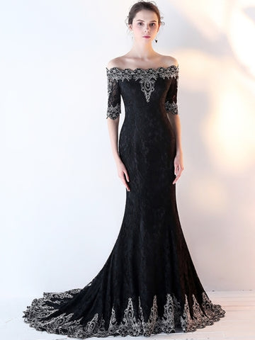 Black Mermaid Off-the-Shoulder Appliques Lace Half Sleeves Court Train Evening Dress