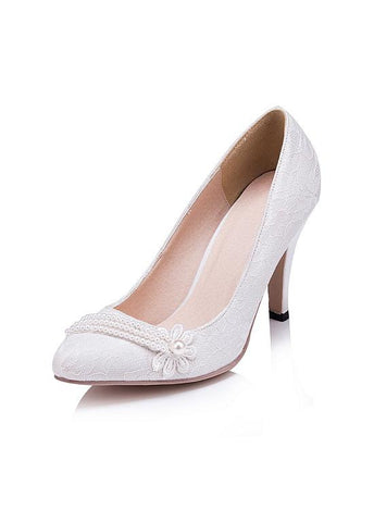 Simple Lace Upper Closed Toe Stiletto Heels Wedding/ Bridal Party Shoes With Pearls & Lace Flower