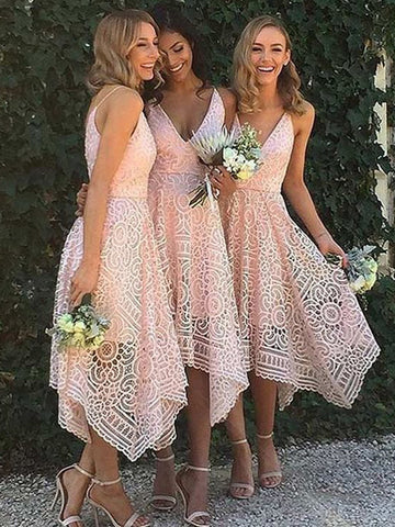Princess Pink V-neck Asymmetrical Lace Bridesmaid Dress