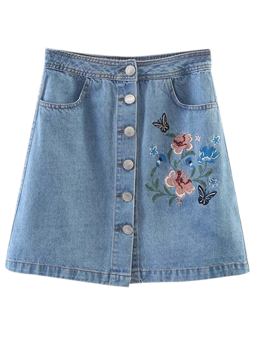 Embroidered Single-Breasted Denim Skirt