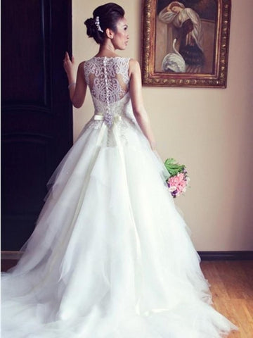 See-Through Beading Back Bateau Neck Tulle A-Line Wedding Dress