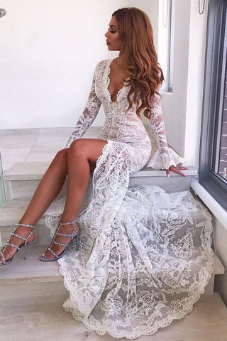 Sexy V-neck Long Lace White Long Sleeve Prom Dress With Slit