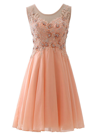 Fabulous Chiffon Scoop Neckline Knee-length A-line Homecoming Dresses With Beaded Lace Appliques