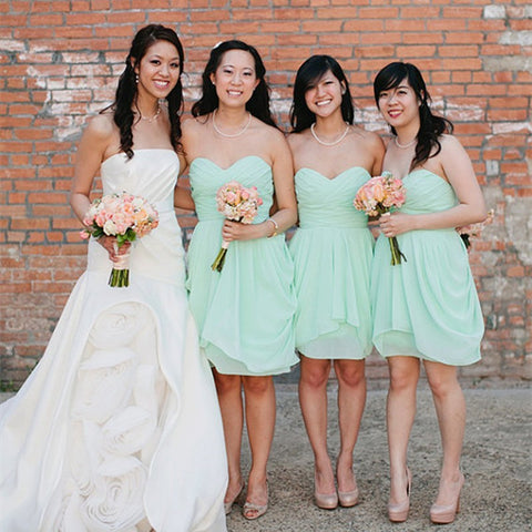 Chiffon Mint Bridesmaid Dress With Ruched