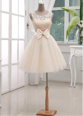 Chic Lace & Satin & Tulle Bateau Neckline Short A-line Homecoming Dress