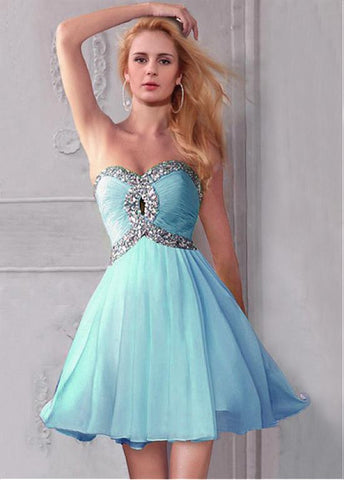 Chic Chiffon Sweetheart Neckline Short A-line Homecoming Dress