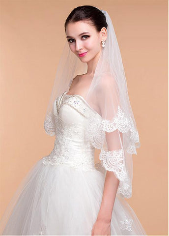 Beautiful Tulle Ivory Wedding Veil With Lace Appliques