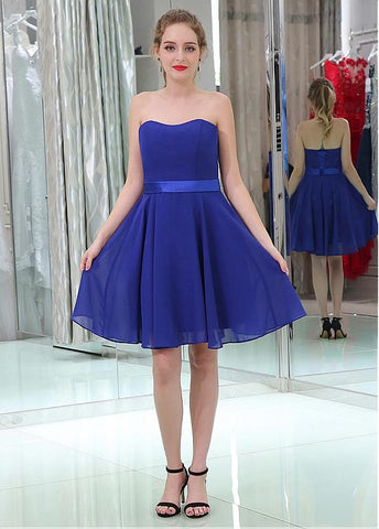 Modern Chiffon Strapless Neckline Short Length A-line Cocktail Dresses With Belt