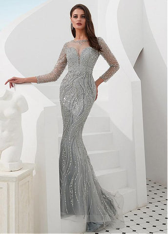Tulle Jewel Silver Beading Mermaid Evening Dress