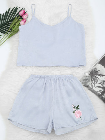 Floral Patched Cami Top And Shorts Set