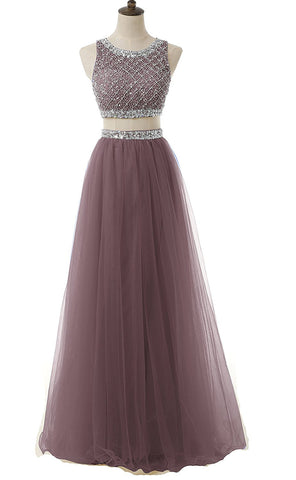 Two Piece Sequined Bodice Prom Dresses
