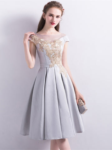 Gary Sashes Cap Sleeves Bateau Homecoming Dress